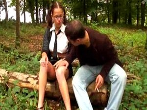 Amandine French teen great fuck in the wood