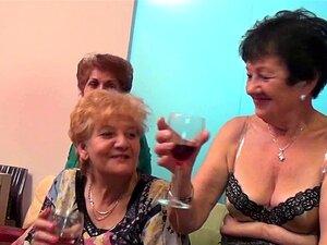Velhas e jovens lésbicas executam em uma sala