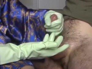 Gloves make his penis hard,