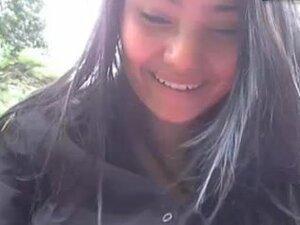 colombian girl in public park,