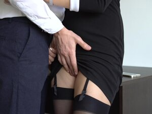 Sexy Secretary In Stockings Makes Boss Cum On Her