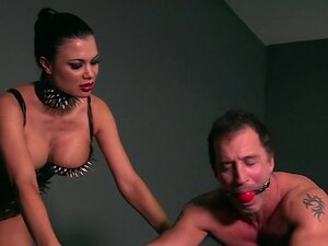 Strapped gagged slave gets fucked
