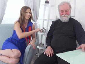 Yummy babe congratulates an old man with sex