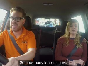 Fake Driving School 34F Boobs Bouncing in driving