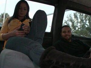 Amateur hottie gets cozy on the sex bus backseat