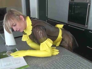 Kinky dude in a latex suit fucks his plump maid