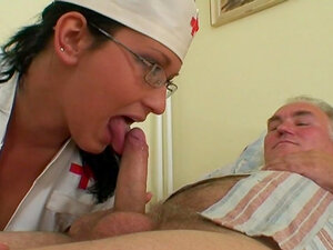 Granny and nurse are fucking this old man