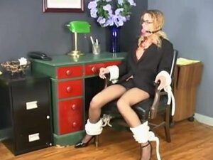 Curly teen blonde gets tied to a chair, Delicious