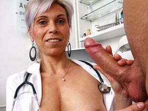Czech cougar doctor Beate mom boy cfnm tugjob at