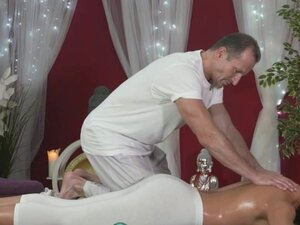 Massage Rooms Young Teen masseuse is licked and