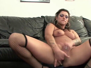 Hot gal in awesome lingerie masturbates
