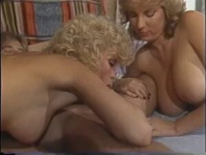 Lusty brunettes and blonde go down on a huge long