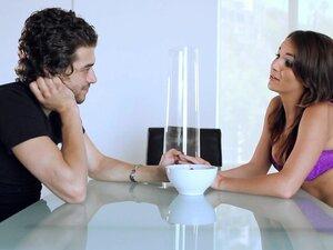 Hot brunette Jenna Rose and nice romantic dinner