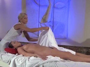 Blonde lesbian does a nice massage to her sexy