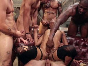 Ebony in stockings gets rough orgy fuck