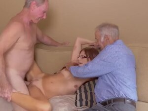 Old man fucks young blonde and orgy first