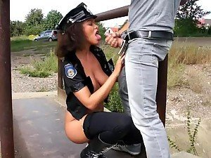 Seductive Law Police Lady Gives A Mean Blowjob