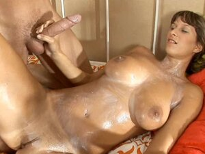 Lotion girl with big tits fucked