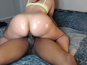 Red head bounces her perfect ass on neighbors cock