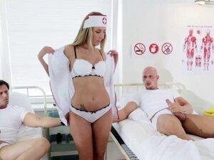Naughty Nurse Jenny Simons Treats Two Patients