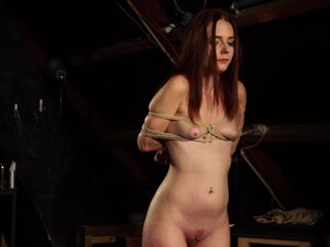 RedHead Dragged In Woods Punished with Wax and Big