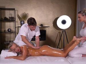 Massage Rooms Oil soaked sensual blonde Czech FFM