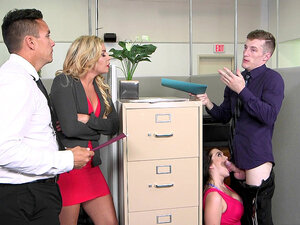 Ryan Smiles sucks her boss's dick while his is