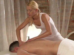 Massage Rooms Blonde masseuse squirts everywhere