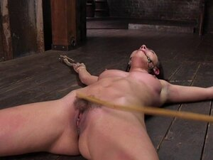 Skinny slave whipped and gagged