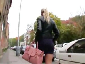 Big tits euro blonde shows off boobs in public and