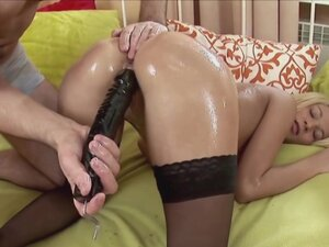 Using the black dildo on her was just a warmup for