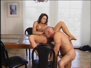 Brunette sucks older dude's cock then he fucks her