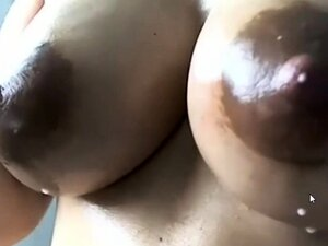 Horny Lady with Huge Lactating Boobs