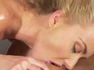 Redhead masseuse licks shaved cunt blonde