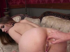 Slave anal toying in lezdom on the sofa