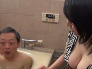 Busty Japanese chick is bathing with an old man