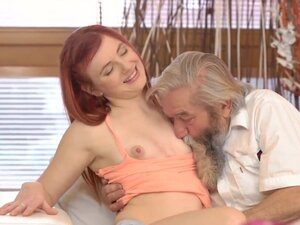 Chick's shaved pussy is fingered by old man and