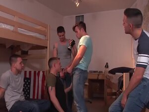 Amazing group sex in the dorm room