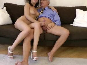 Lovely young loves it anal by old man