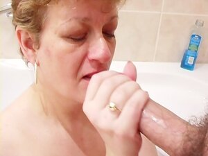 Faceful of cum for horny old woman