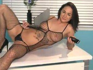 Mica Martinez in mesh underwear masturbates on a