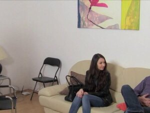 Dark haired Euro female agent licks babe