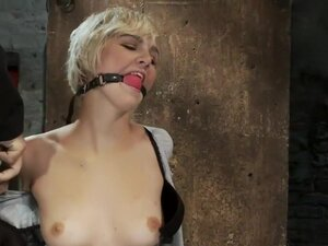 Hot blond is bound & made to strip