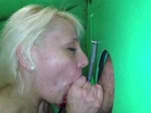 Porta Gloryhole Chubby blonde sweats while working