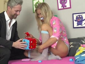 Hot blonde dressed as toddler gets cunt fucked