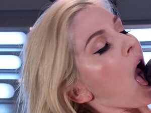 Busty blonde takes machine in shaved pussy