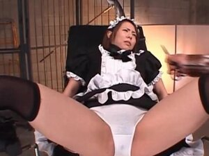 Japanese slave in maid suit gets pussy fucked