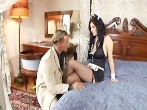 Busty maid has sex in fishnet stockings and high