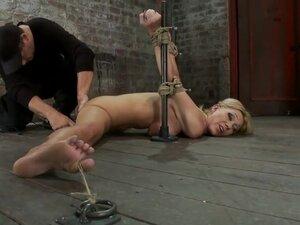 Flexible Blond MILF is tied in the splits