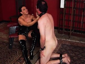 Hot mistress spanking with cumshot